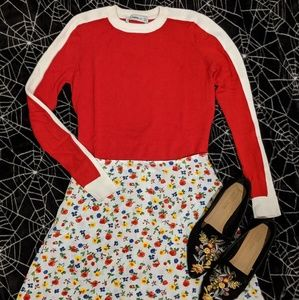 Zara red and white racer stripe sweater